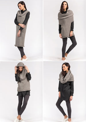multifunctional dress in lightgrey alpaca and merino wool