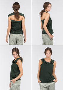 Multifunctional organic cotton top, scarf or hoody in deep green.