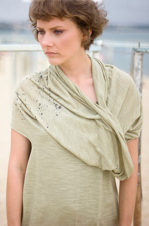 Organic cotton and linen khaki dress wich can be worn as a top, scarf or hoody.
