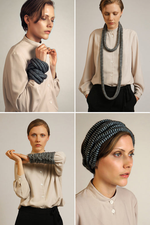 Multifunctional scarf in lightgreen which can be worn as a head-warmer or bracelet.