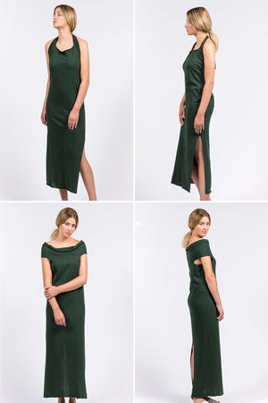 deep green long dress which can be worn in multiple ways, in organic cotton.
