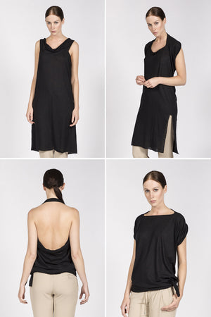Multifunctional black dress which can be worn as a crop top, t-shirt with scarf or neckholder.