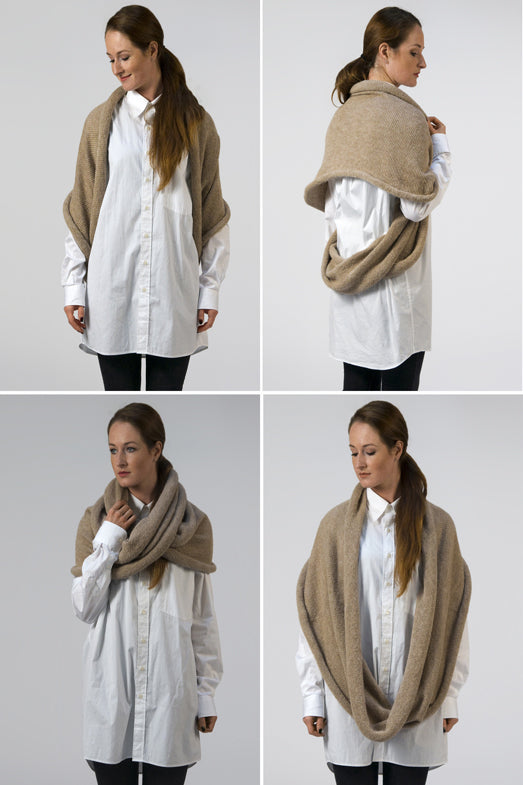 Multifunctional beige scarf which can be worn as a poncho or hoody