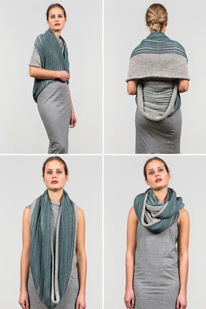 Multifunctional mix grey & green wool scarf which can be worn as poncho, hoody or cape.
