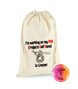 Crochet and Knitting Drawstring Project Bags