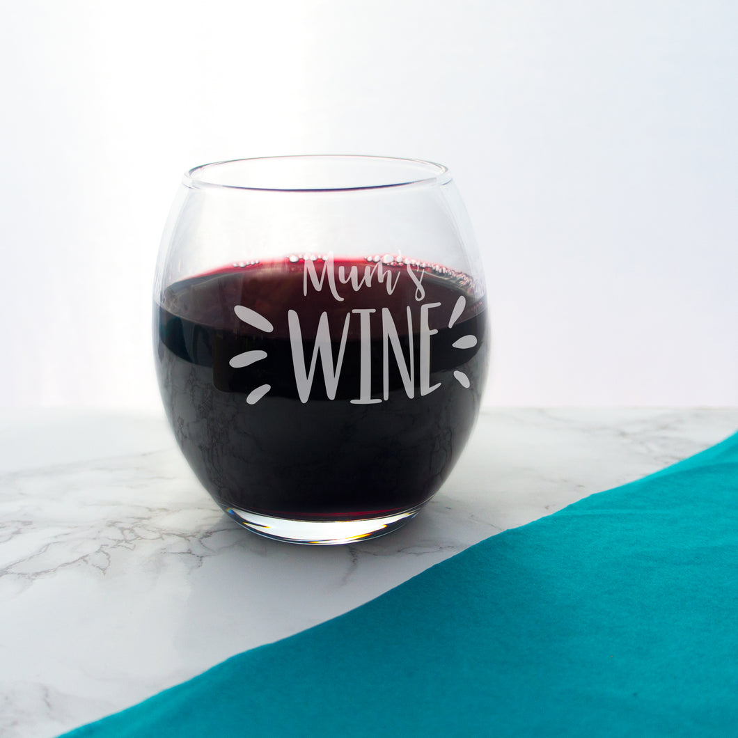 Wine Glass Stemless Personalised - Etched