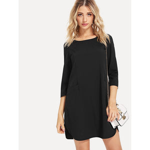 Black Keyhole Back Dress With Pockets - Pocketry