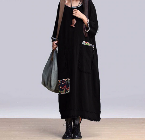 Loose autumn maxi dress with pockets - Pocketry