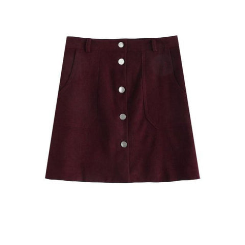Burgundy Mini Skirt With Pockets - Pocketry