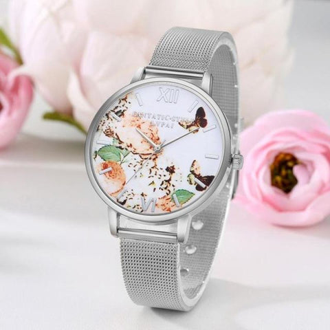 Butterfly Watch With Stainless Steel Mesh Strap - Pocketry