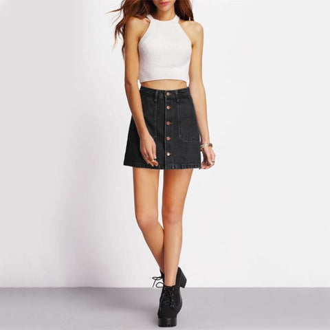 Button Down Denim Mini Skirt With Pockets - Pocketry