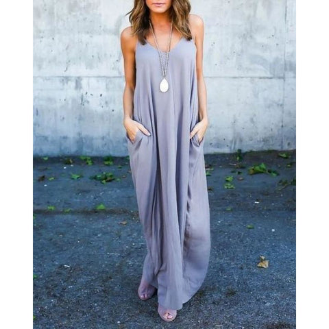Casual Maxi Summer Beach Dress With Pockets - Pocketry