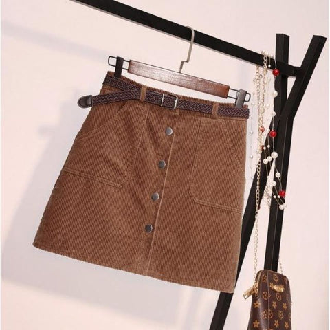 Corduroy High Waisted Skirt With Belt And Pockets - Pocketry
