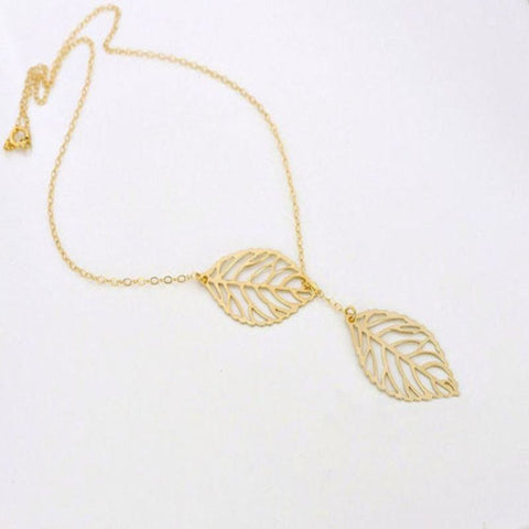Double Leaf Pendant Necklace - Pocketry