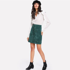 Dual Pocket Corduroy Skirt - Pocketry