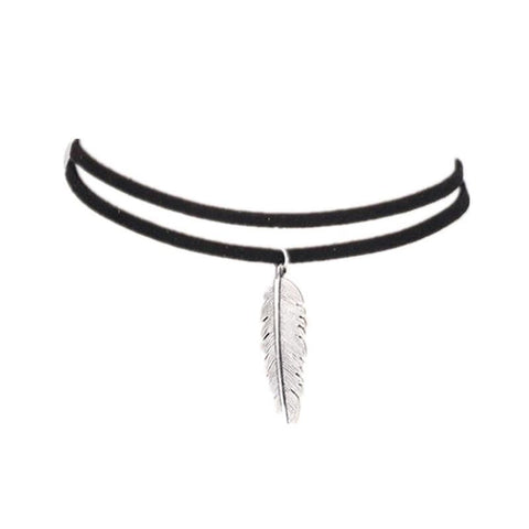 Feather Pendant with Leather Strap Necklace - Pocketry