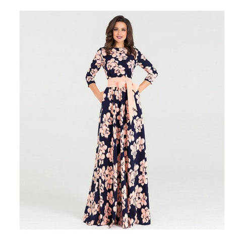 Floral Maxi Print Dress With Sash and Pockets - Pocketry