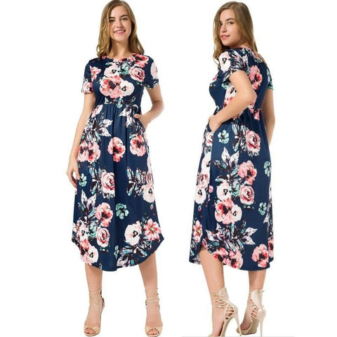 Floral Midi Length Summer Dress With Pockets - Pocketry