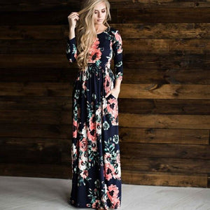 Floral Print Maxi Dress With Pockets - Pocketry