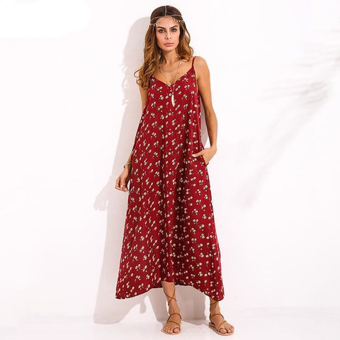 Floral Summer Maxi Beach Dress With Pockets - Pocketry