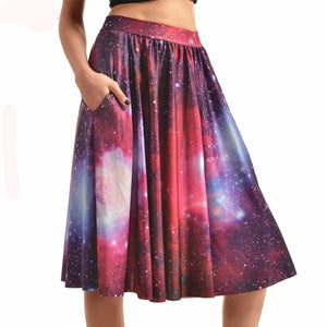 Galaxy Pattern Skirt With Pockets - Pocketry