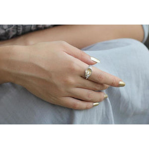 Gold and Silver Adjustable Leaf Ring - Pocketry