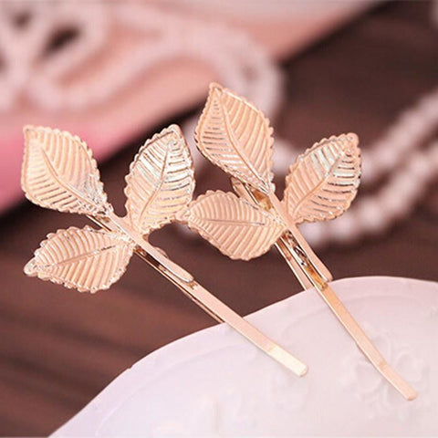 Golden Three Leaf Hair Pin - Pocketry