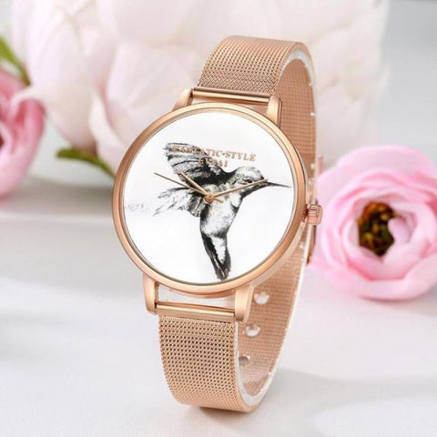 Hummingbird Stainless Steel Mesh Strap Watch - Pocketry