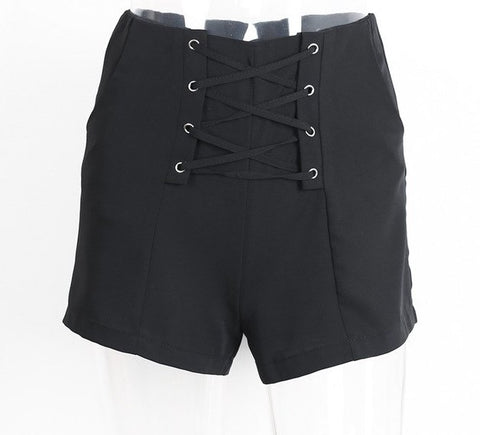 Cross lace up shorts with pockets - Pocketry