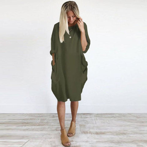 Loose Fitting Smock Dress With Pockets - Pocketry
