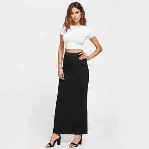 Maxi Length Black Skirt With Pockets - Pocketry