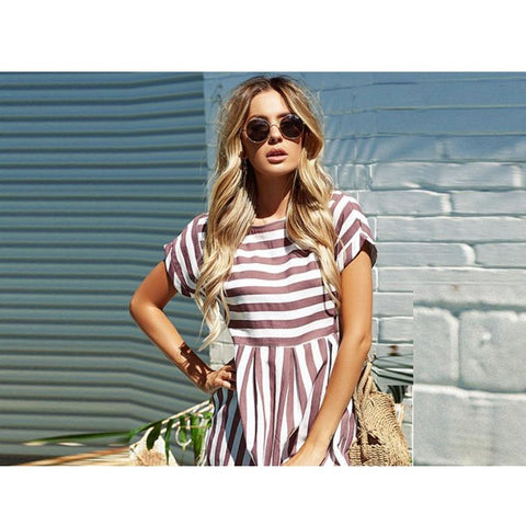 Mini Striped Summer Sun Dress With Pockets - Pocketry