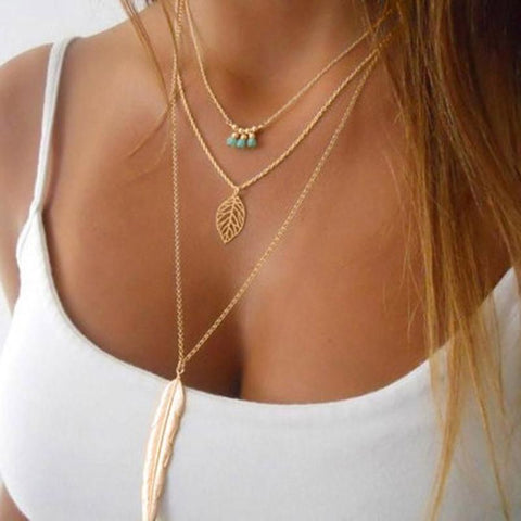 Multilayer Feather Necklace - Pocketry