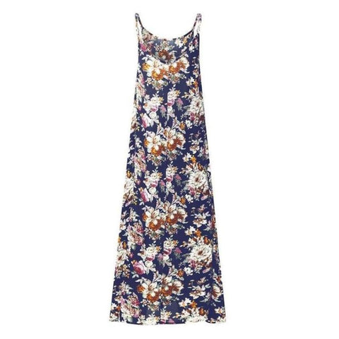 Navy Floral Print Sundress Midi Length Dress With Pockets - Pocketry