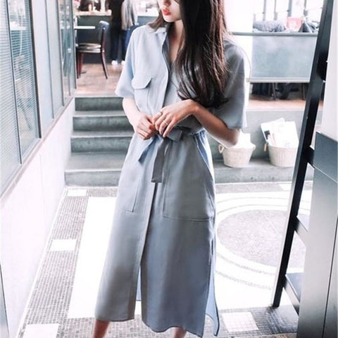 Pastel Blue Belted Shirt Dress With Pockets - Pocketry