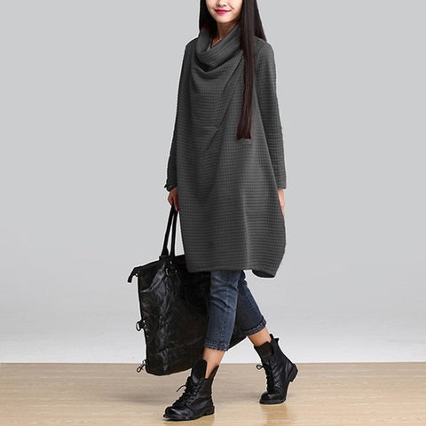 Scarf Collar Autumn Dress with pockets - Pocketry