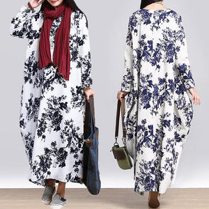 Retro floral Maxi Dress with pockets - Pocketry