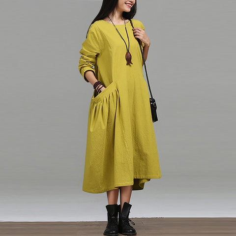 Winter loose maxi dress with pockets - Pocketry