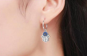 Sterling Silver Lucky Hamsa Hand Earrings - Pocketry