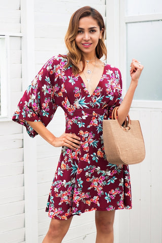 Backless floral print summer dress with pockets - Pocketry