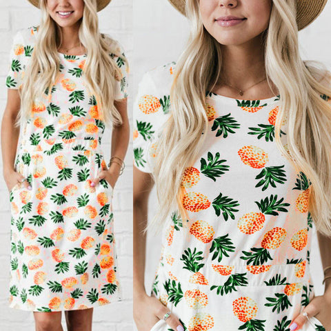 Pineapple Print Mini Dress with pockets - Pocketry