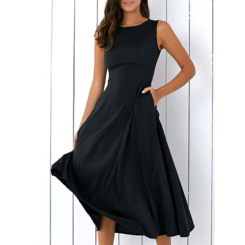 Black Midi Dress With Pockets - Pocketry
