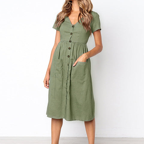 Linen Summer Midi Dress With Pockets - Pocketry