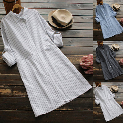 Striped Shirt dress with Pockets - Pocketry