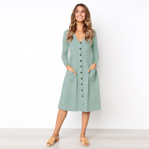 Button Midi Dress Women with pockets - Pocketry