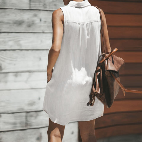 Plain Button dress with Pocket - Pocketry
