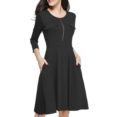 Three Quarter Sleeve Zipper dress with Pocket - Pocketry
