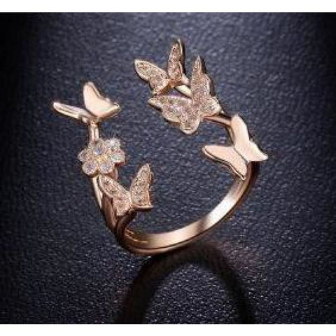 Rose Gold Adjustable Butterfly Ring - Pocketry