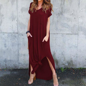 Side Slit Maxi Length T-Shirt Dress With Pockets - Pocketry
