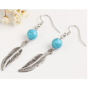 Silver Feather Drop Earrings - Pocketry